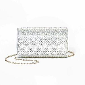 Crystal Snap Flap Closure Clutch - Silver